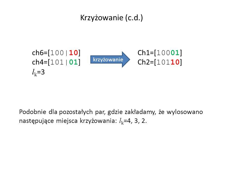 Krzyżowanie (c.d.) ch6=[100|10] ch4=[101|01] lk=3 Ch1=[10001]